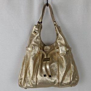 MICHAEL KORS METALIC GOLD CAVIAR LEATHER BLING BAG